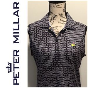 Peter Millar Masters Navy Sleeveless Silky Polo